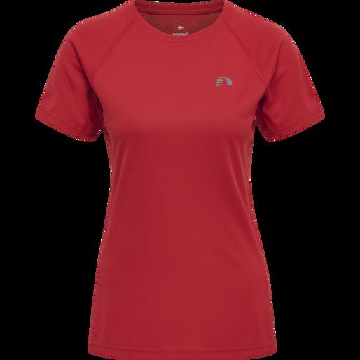 WOMEN CORE RUNNING T-SHIRT S/S, TANGO RED, packshot