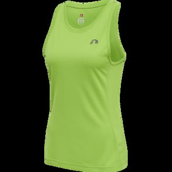 WOMEN CORE RUNNING SINGLET, GREEN FLASH, packshot
