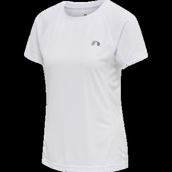 WOMEN CORE RUNNING T-SHIRT S/S, WHITE, packshot